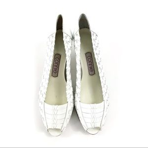 Vintage Connie White Woven Leather Heels 7M